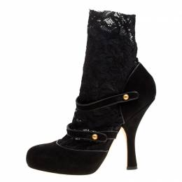 Dolce&Gabbana Black Suede Ankle Length Lace Sock Mary Jane Pumps Size 39 163338