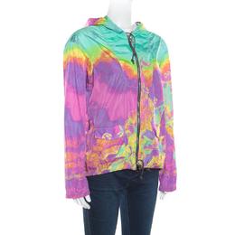 Prada Sport Multicolor Printed Zip Front Belted Hooded Jacket M 163611