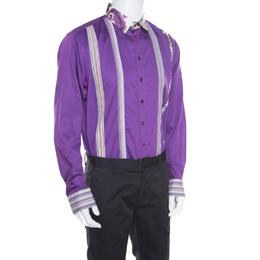 Etro Purple Pleat Detail Long Sleeve Button Front Cotton Luca Shirt XL 163364