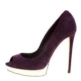 Le Silla Wine Purple Suede Peep Toe Platform Pumps Size 40 163762