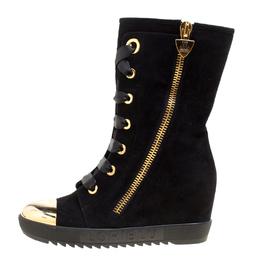 Loriblu Black Suede Metal Cap Toe Wedge Heel Calf Boots Size 36 163764