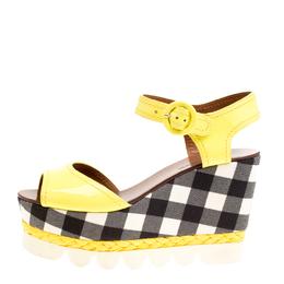 Dolce&Gabbana Yellow Patent Leather Bubble Sole Espadrille Wedge Platform Sandals Size 38.5 163789