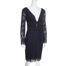 Diane Von Furstenberg Deep Night Blue Lace Plunge Neck Long Sleeve Viera Dress S 185742