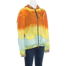 Prada Sport Multicolor Acid Effect Zip Front Belted Hooded Jacket L 163593