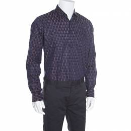 Salvatore Ferragamo Navy Blue Cotton Jacquard Long Sleeve Shirt L