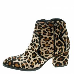 Zadig & Voltaire Brown Leopard Print Calf Hair Molly Leo Cowboy Boots Size 37