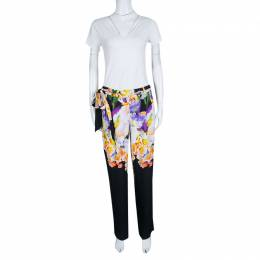 Roberto Cavalli Class Multicolor Floral Printed Loose Fit Belted Pants M 139669