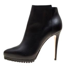 Le Silla Black Leather Platform Ankle Boots Size 40 166227