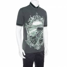 Dolce&Gabbana Green and White Printed Polka Dotted Knit Polo T-Shirt M