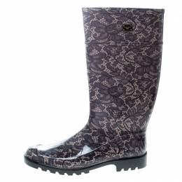 Dolce&Gabbana Lace Print Rubber Boots Size 41 166250