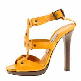 Jimmy Choo Mustard Yellow Studded Leather Cage Sandals Size 37 166424