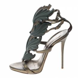Giuseppe Zanotti Design Olive Green Leather Argent Metal Wing Embellished Strappy Sandals Size 37 166448