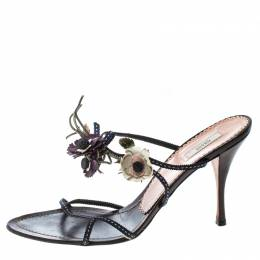 Prada Multicolor Fabric and Leather Flower Embellished Sandals Size 39 166396