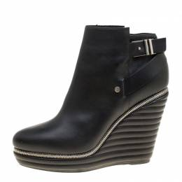Enio Silla For Le Silla Black Leather Quilted Wedge Ankle Boots Size 40