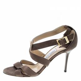 Jimmy Choo Taupe Brown Suede Lottie Strappy Sandals Size 37 166332