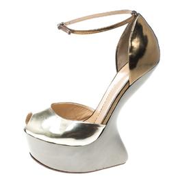 Giuseppe Zanotti Design Two Tone Leather Heelless Peep Toe Platform Pumps Size 38.5 166430