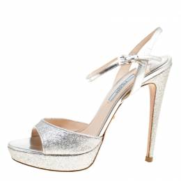 Prada Silver Glitter and Leather Ankle Strap Platform Sandals Size 37 166863