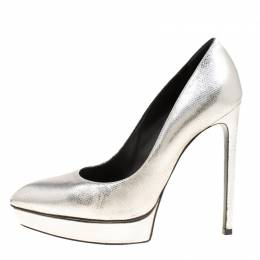 Saint Laurent Silver Leather Janis Pointed Toe Platform Pumps Size 39 166764