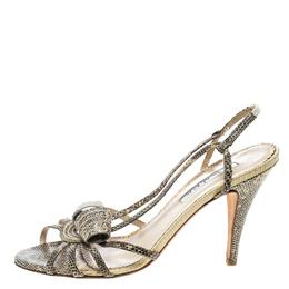 Oscar De La Renta Beige Snakeskin Strappy Sandals Size 38 166571