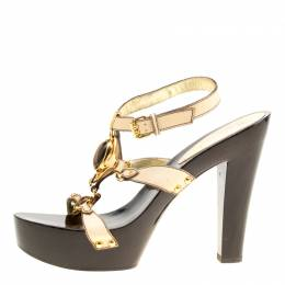 Giuseppe Zanotti Design Beige Leather Ankle Strap Platform Sandals Size 40 166819