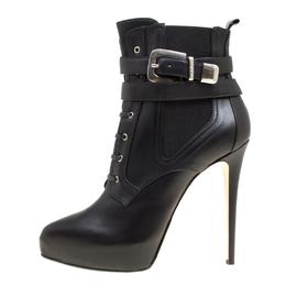 Enio Silla For Le Silla Black Leather Platform Ankle Boots Size 40 167752