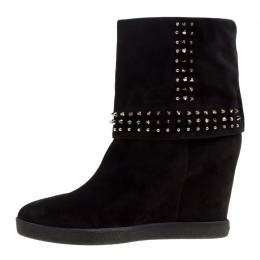 Le Silla Black Suede Studded Concealed Platform Boots Size 41 167760