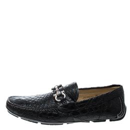 Salvatore Ferragamo Black Crocodile Leather Parigi Bit Loafers Size 44.5 168868