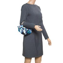 Emilio Pucci Blue Abstract Print Satin Evening Bag