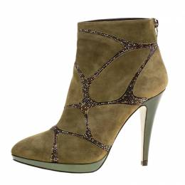 Rene Caovilla Khaki Green Suede Crystal Embellished Boots Size 39