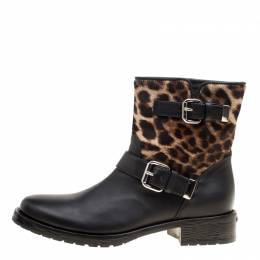 Le Silla Black Leather And Leopard Print Pony Hair Ankle Boots Size 40 168609