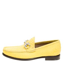 Salvatore Ferragamo Yellow Python Mason Loafers Size 41 168605