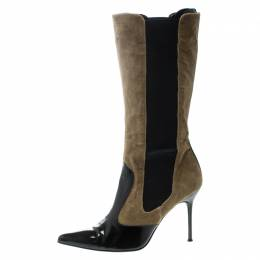 Dolce&Gabbana Black/Khaki Green Patent Leather and Corduroy Pointed Toe Boots Size 39 169224