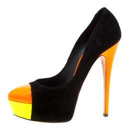 Casadei Tricolor Suede And Patent Leather Cap Toe Platform Pumps Size 39 169939