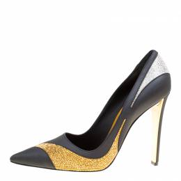 Rene Caovilla Tri Color Leather Crystal Embellished Detail Pointed Toe Pumps Size 41