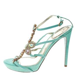 Rene Caovilla Mint Blue Suede Crystal Embellished Strappy Sandals Size 40