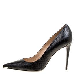 Barbara Bui Black Elaphe Leather Metal Pointed Toe Pumps Size 41 170328