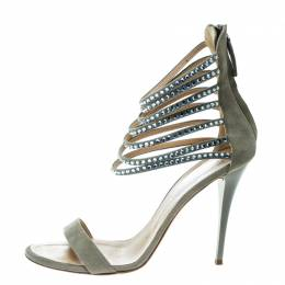 Giuseppe Zanotti Design Grey Suede Crystal Embellished Ankle Strap Open Toe Sandals Size 40 170212