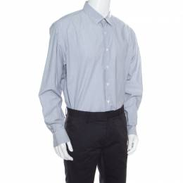 Salvatore Ferragamo Grey Striped Jacquard Long Sleeve Button Front Shirt XXL