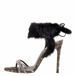 Rene Caovilla Black Crystal Embellished Satin With Fur Ankle Cuff Open Toe Sandals Size 39
