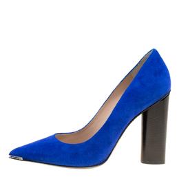 Barbara Bui Cobalt Blue Suede Metal Pointed Toe Block Heel Pumps Size 37 170313