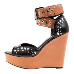 Barbara Bui Black/Brown Stud Eyelet Embellished Ankle Wrap Wedge Sandals Size 37 170382