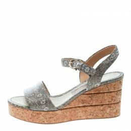 Salvatore Ferragamo Two Tone Embossed Lizard Leather Madea Cork Wedge Sandals Size 39.5 170280