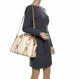Chloe Beige/Brown Leather Susan Top Handle Bag