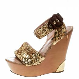 Louis Vuitton Metallic Gold Sequin Embellished Ankle Wrap Wedge Sandals Size 40 170232