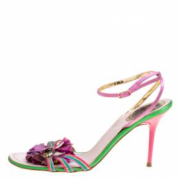 Rene Caovilla Multicolor Satin Crystal Flower Embellished Ankle Strap Sandals Size 41