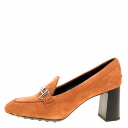 Tod's Orange Suede Gomma Maxi Double T Court Loafer Pumps Size 40 170195