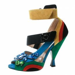 Prada Color Block Suede Asymmetric Jeweled Ankle Strap Sandals Size 38.5 170944