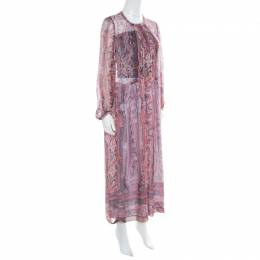 Isabel Marant Paisley Printed Sheer Silk Gauze Samuel Midi Dress M 171487