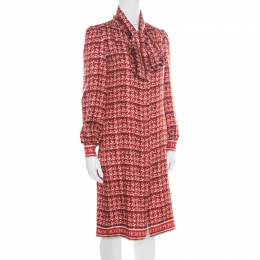 Ch Carolina Herrera Red Abstract Printed Silk Button Front Tunic Dress S 171483