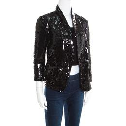 Yves Saint Laurent Black Sequin Paillette Embellished Single Button Blazer S 171938